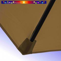 Parasol Lacanau Gris Taupe 300 cm Bois : detail de la toile et de sa mise en place en bout de baleine