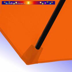 Parasol Lacanau Orange 300 cm Bois : detail de la toile et de sa mise en place en bout de baleine