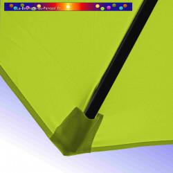Parasol Lacanau Vert Lime 300 cm Bois : detail de la toile et de sa mise en place en bout de baleine