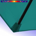 Parasol Lacanau Bleu Turquoise 300 cm Bois : detail de la toile et de sa mise en place en bout de baleine