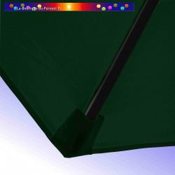 Parasol Lacanau Vert Pinède 300 cm Bois : detail de la toile et de sa mise en place en bout de baleine