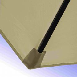 Parasol Lacanau Sable Grège 300 cm Bois Manivelle : détail de la toile et de sa mise en place sur la baleine en bois