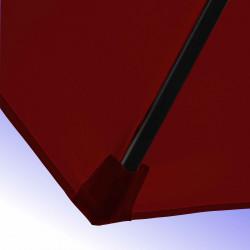 Parasol Lacanau Rouge Bordeaux 300 cm Bois Manivelle : detail de la toile et de sa mise en place sur la baleine en bois