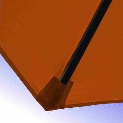 Parasol Lacanau Orange 300 cm Bois Manivelle : detail de la toile et de sa mise en place sur la baleine en bois
