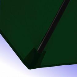 Parasol Lacanau Vert Pinède 300 cm Bois Manivelle : detail de la toile et de sa mise en place sur la baleine en bois