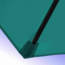 Parasol Lacanau Bleu Turquoise 300 cm Bois Manivelle : detail de la toile et de sa mise en place sur la baleine en bois