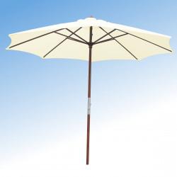 Parasol Lacanau Ecru 350 cm Bois Manivelle : vu de face