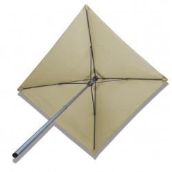 Parasol Lacanau Sable Grège 200 x 200 cm Alu : vu de dessous