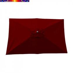 Parasol Lacanau Rouge Bordeaux 200 x 300 cm Alu vu de dessus
