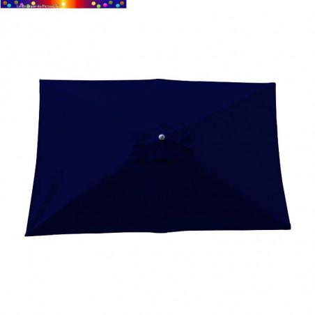Parasol Lacanau Bleu Marine 200 x 300 cm Alu vu de dessus