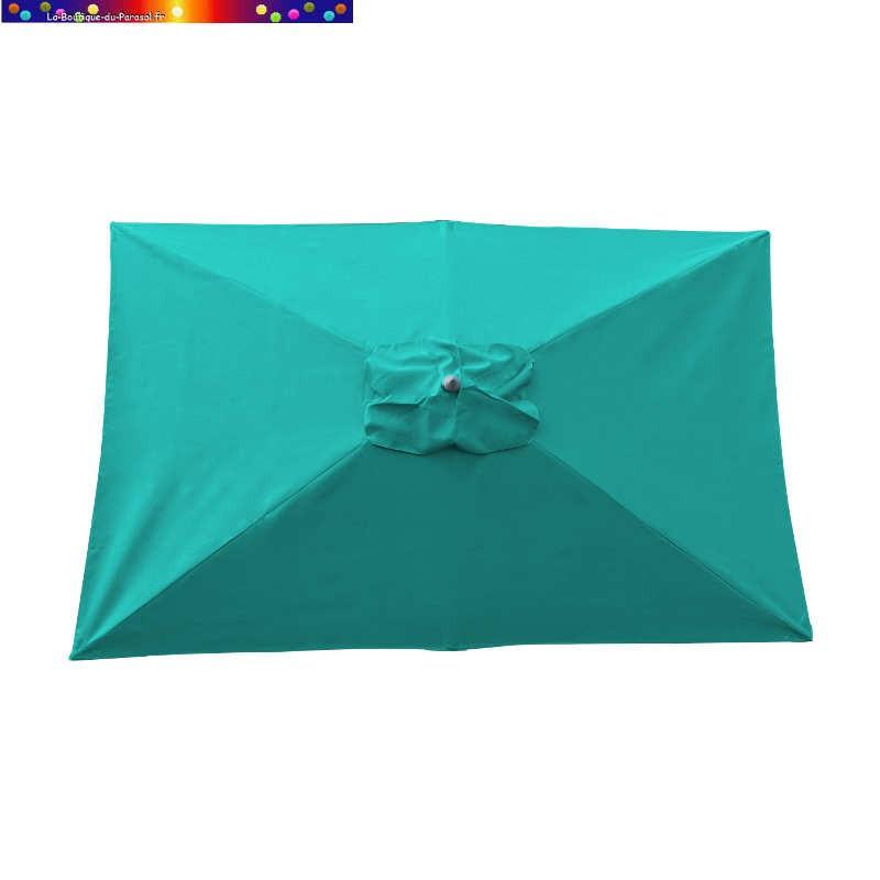Parasol Lacanau Bleu Turquoise 200 x 300 cm Alu vu de dessus