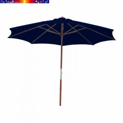 Parasol Lacanau Bleu Marine 350 cm Bois Manivelle en position ouverte