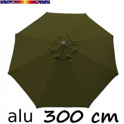 Parasol Lacanau Vert Olive 300 cm Alu : toile vue de dessus