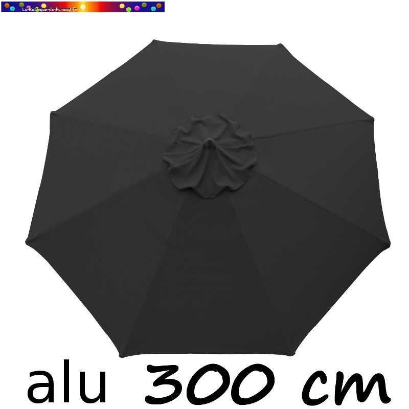 Parasol Lacanau rond (octogonal) Diamètre 300 cm Aluminium avec toile couleur Gris Souris : Parasol vu de dessous