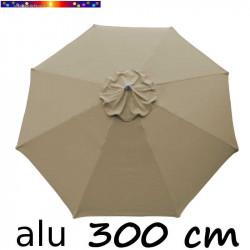 Parasol Lacanau rond (octogonal) Diamètre 300 cm en Aluminium avec Toile Couleur Gris Taupe : détail de la toile vue de dessus