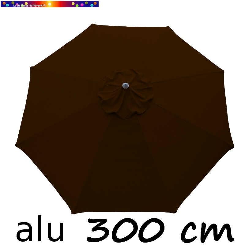 Parasol Lacanau rond (octogonal) Diamètre 300 cm en Aluminium avec toile couleur Chocolat : détail de la toile vue de dessus