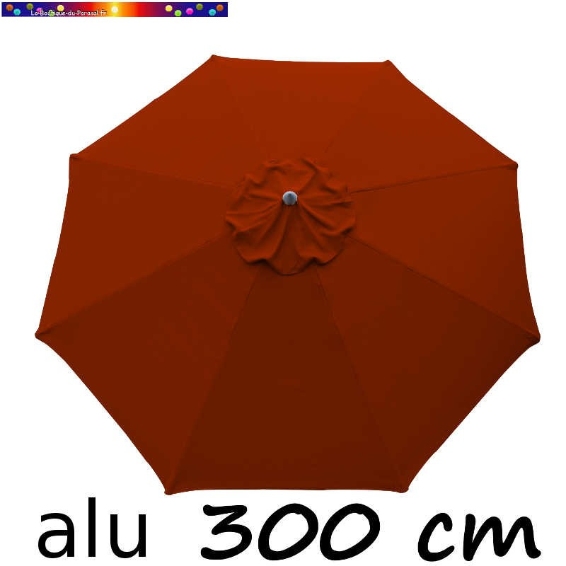 Parasol Lacanau rond (octogonal) Diamètre 300 cm en Aluminium avec Toile couleur Terracotta : détail de la toile vue de dessus