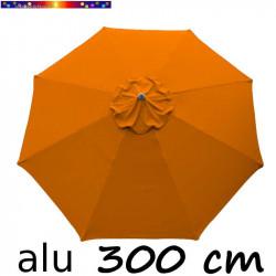 Parasol Lacanau rond (octogonal) Diamètre 300 cm en Aluminium couleur Orange capucine : détail de la toile vue de dessus
