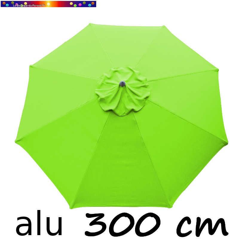 Parasol Lacanau rond (octogonal) Diamètre 300 cm en Aluminium avec toile couleur Vert Lime : détail de la toile vue de dessus