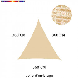 Voile d'ombrage triangle 360 cm Sable : descriptif