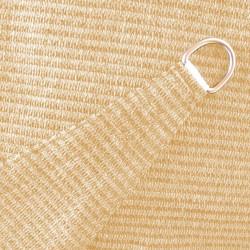 Voile d'ombrage triangle 360 cm Sable : détail de la toile et de l'anneau d'accrochage