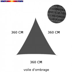 Voile d'Ombrage Triangle 360 cm Anthracite : descriptif