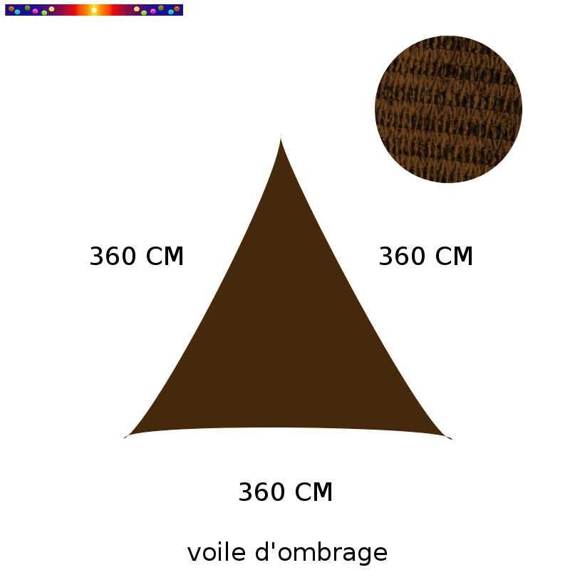 Voile d'Ombrage Triangle 360 cm Marron Havane : descriptif