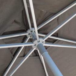 Parasol Biarritz diamètre 300 cm Gris Taupe : détail du système d'ouverture du parasol