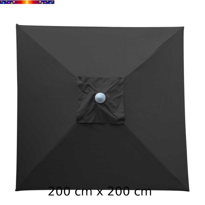 Parasol Biarritz 2x2 Gris Anthracite : toile vue de dessus