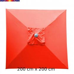 Parasol Biarritz 2x2 Rouge Coquelicot : toile vue de dessus