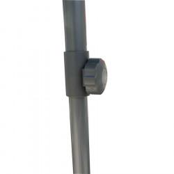 Parasol Biarritz 2x2 Gris Taupe: détail du réglage de la hauteur du mât