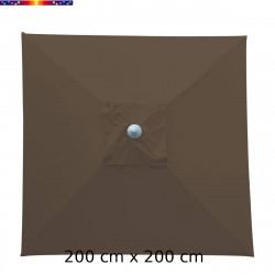 Parasol Biarritz 2x2 Gris Taupe : toile vue de dessus