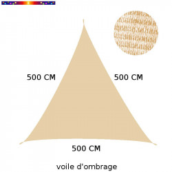 Voile d'Ombrage Triangle 500 cm Sable : descriptif