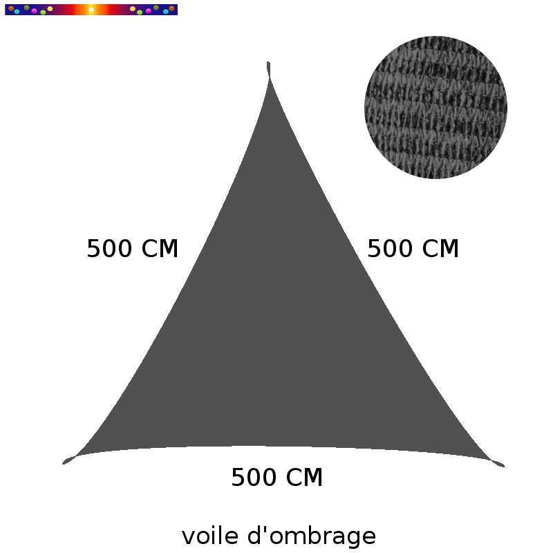 Voile d'Ombrage Triangle 500 cm Gris Anthracite : descriptif