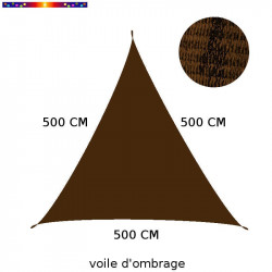 Voile d'Ombrage Triangle 500 cm Marron Chataigne : descriptif