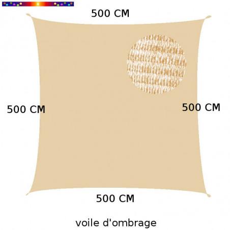 Voile d'Ombrage Carrée 500 cm Sable : descriptif