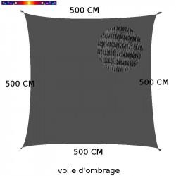 Voile d'Ombrage Carrée 500 cm Gris Anthracite : descriptif