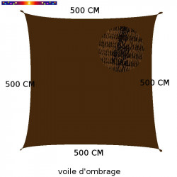 Voile d'Ombrage Carrée 500 cm Marron Havane : descriptif