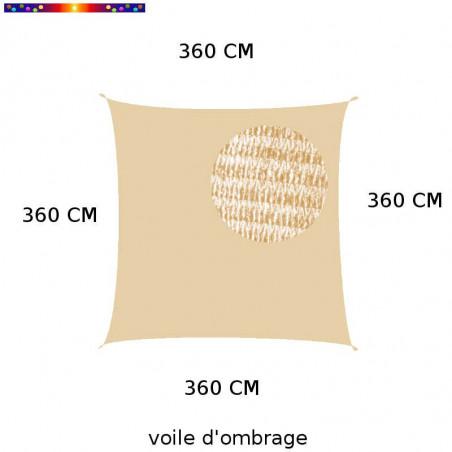 Voile d'Ombrage Carrée 360 cm Sable : descriptif