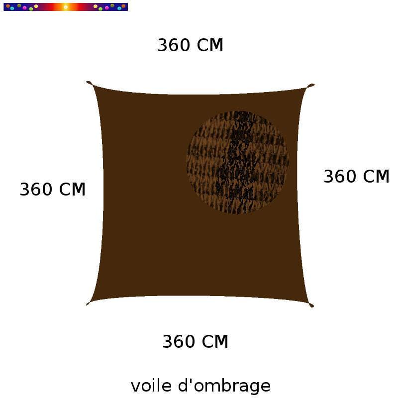 Voile d'Ombrage Carrée 360 cm Marron Havane : descriptif
