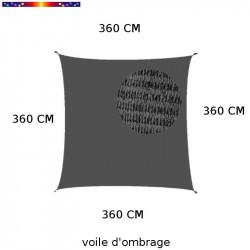 Voile d'Ombrage Carrée 360 cm Gris Anthracite : descriptif