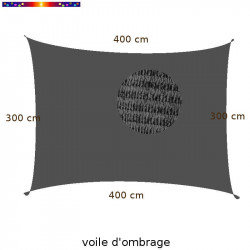 Voile d'Ombrage Rectangle 300 x 400 cm Gris Anthracite : Descriptif