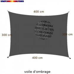 Voile d'Ombrage Rectangle 300 x 400 cm Gris Anthracite : Descriptif