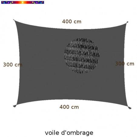 Voile Rectangle 300 x 400 cm Gris Ardoise