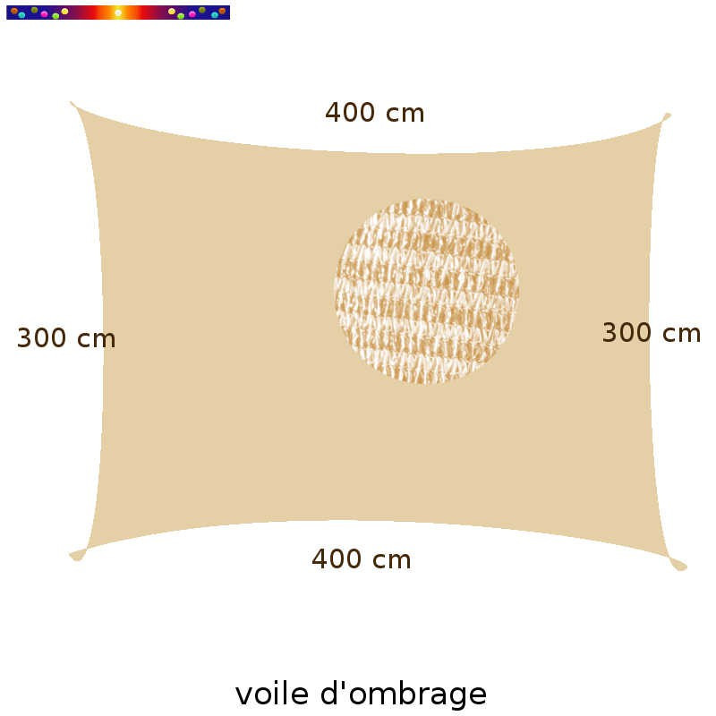 Voile d'Ombrage Rectangle 300 x 400 cm Nuage d'été : Descriptif