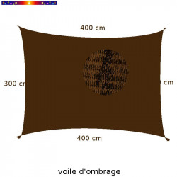 Voile Rectangle 300 x 400 cm Marron Chataigne : Descriptif
