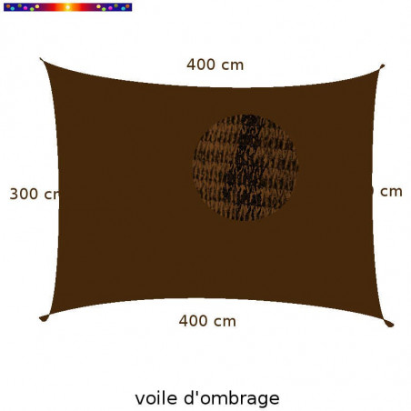 Voile Rectangle 300 x 400 cm Marron Chataigne