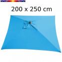 Parasol Arcachon Bleu Azur 200 x 250 cm Alu : vu de dessus