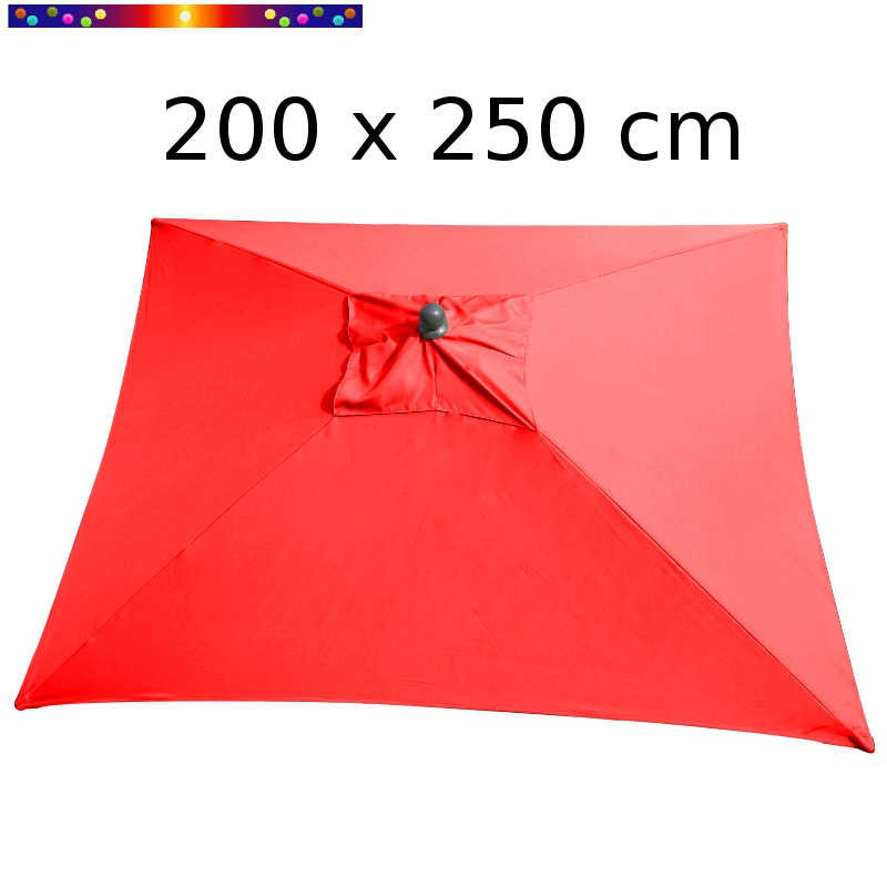 Parasol Arcachon Rouge Coquelicot 200 x 250 cm Alu : vu de dessus