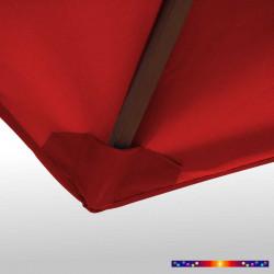 Toile polyester pour parasol carré 2x2 Rouge Bordeaux : coté bas de la baleine